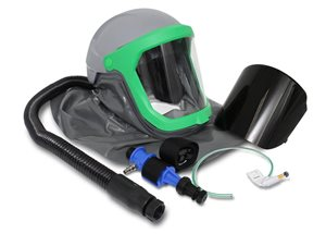 Thermal spray helmet with cape, air-tube, cool-tube air cooler, visible flow indicator and shaded vi