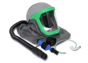 Thermal spray helmet with cape, air-tube, cool-tube air cooler, visible flow indicator and clear vis